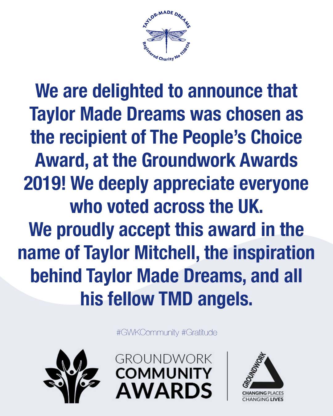 Taylor Made Dreams Wins Groundworks UK People's Choice Award ...